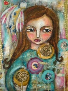 Wild Flower art mixed media Print 8 x 10 inch by SusanaTavares, $18.00