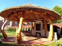 Outside Living, Outdoor Living, Wooden Garden Gazebo, Bali Huts, Tuscan House Plans, Outdoor Pavilion, Thatched Roof, Garage Design, Log Homes