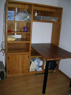 Sewing table and cabinet from old entertainment center