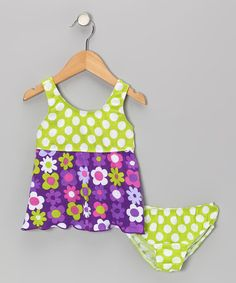 Take a look at this Purple Fab Floral Tankini - Toddler & Girls by Bubble & Squeak on #zulily today!