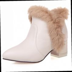 51.80$  Buy now - http://ali9vp.worldwells.pw/go.php?t=32745400970 - Boots Woman Autumn Heels 2016 Womens Boots Winter Shoes Rabbit Fur Ankle Boot Pumps Women Snowboots Plush Chunky Heel Booties
