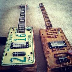 Guitars made out of old number plates