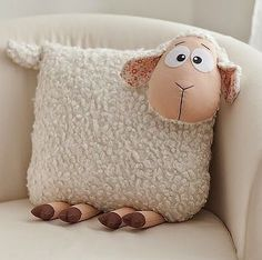 Crochet animals sheep lamb 40 ideas Amigurumi animal models can find many different kinds of ani Kids Pillows, Animal Pillows, Throw Pillows, Hand Knitting, Knitting Patterns, Sewing Crafts, Sewing Projects, Sheep Crafts, Sheep And Lamb