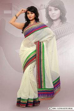 Off White Polyester Embroidered Saree With Blouse