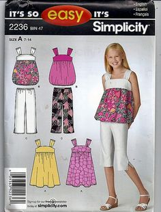 84a68846b8 Girls Dress or Top and cropped Pants   Original Its so Easy Simplicity  Uncut Sewing Pattern 2236