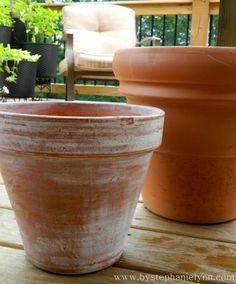 white-wash terracotta pots