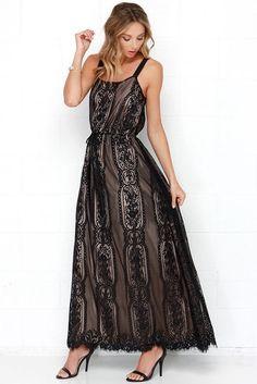 Rose Beige Lace Maxi Dress