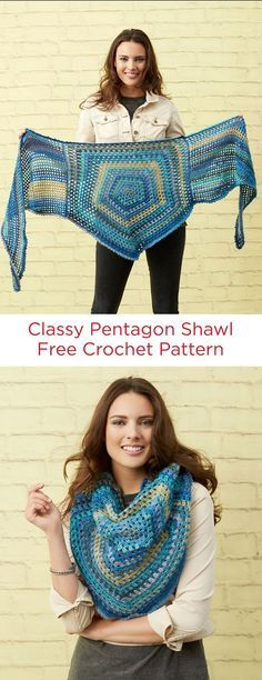 Crochet Shawl Classy Pentagon Shawl Free Crochet Pattern in Red Heart Unforgettable yarn - Plaid Au Crochet, Easy Crochet, Knit Crochet, Crochet Shawls And Wraps, Crochet Scarves, Crochet Clothes, Knitting Patterns Free, Crochet Patterns, Free Pattern