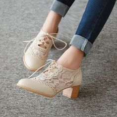 Beige Lace Oxford Heels Round Toe Block Heel Vintage Shoes for Date, Anniversary. Beige Lace Oxford Heels Round Toe Block Heel Vintage Shoes for Date, Anniversary Oxford Shoes Heels, Lace Oxfords, Chunky Heel Shoes, Lace Up Heels, Pumps Heels, Flat Shoes, Stiletto Heels, Women's Shoes, Beige Shoes