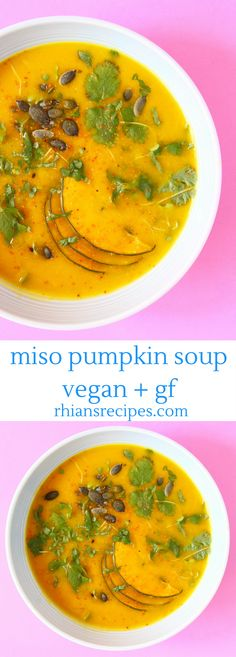 This super healthy Miso Pumpkin Soup is really easy to make and so comforting! Naturally vegan and gluten-free