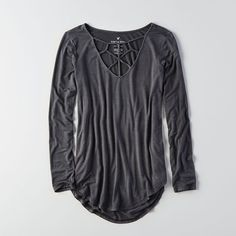 AE Soft & Sexy Cage Front T-Shirt ($30) ❤ liked on Polyvore featuring tops, t-shirts, grey, gray long sleeve t shirt, sexy long sleeve tops, grey t shirt, gray tees and american eagle outfitters t shirts