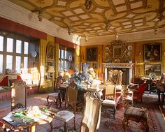 """The 'James I Drawing Room"""" at Chillingham Castle commemorates a visit by the king in 1603 and its ceiling which was restored by the current owner dates from the 16th century"""