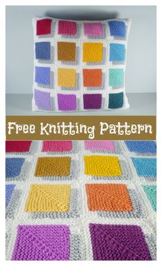 3D Illusion Shadow Squares Free Knitting Pattern #freeknittingpattern