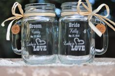 Western Wedding Ceremony -  Lucky in Love Mason Jar Mugs - Personalized Bride and Groom Toasting Glasses on Etsy, $32.00