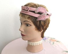 Vintage dusky pink cocktail hat / elaborate headband with satin bands decorated with swirls and leaves with pink and silver beads, 1950s by…