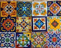 Piastrelle dipinte messicana modello sfondo blu arredamento foto