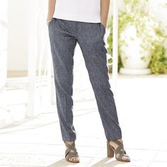 Linen Boyfriend Trousers - Navy Marl from The White Company