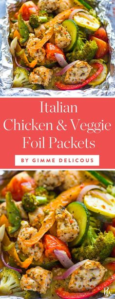 Foil-Packet Dinner Recipes That Make Cleanup a Breeze Italian Chicken and Veggie Foil Packets by Gimme Delicious // 15 Foil-Packet Dinner Recipes That Make Cleanup a Breeze.Family Dinner Family Dinner may refer to: Grilled Foil Packets, Chicken Foil Packets, Foil Packet Dinners, Foil Pack Meals, Foil Packet Recipes, Tin Foil Dinners, Chicken And Vegetables, Veggies, Chicken And Veggie Recipes