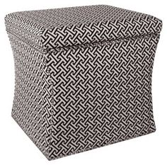 Hepburn Storage Ottoman, Black/White