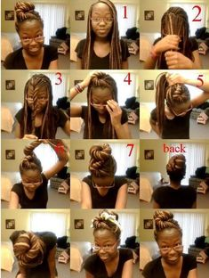 Twisted Bun Updo For Box Braids