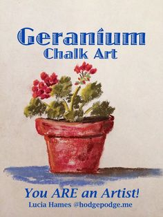 I cannot think of a better way to welcome spring than a pot of good old fashioned red geraniums. So today we will enjoy a geranium chalk art tutorial! Chalk Pastels, Oil Pastels, Spring Art, Red Geraniums, Pastel Art, Art Studies, Chalk Art, Elementary Art, Teaching Art