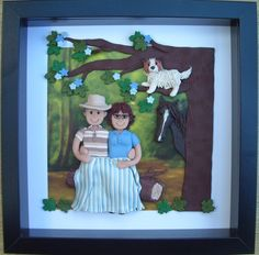 """Fimo 3D Portrait - a woodland scence with a couple,  """"tree climbing dog"""" and horse."""