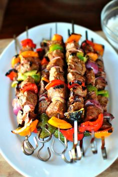 Grilled Marinated Steak Kebabs.