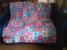 My very first granny square crochet blanket afghan