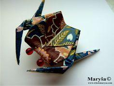 Blue Origami Crab Brooch Animal Brooch Pin with by MarysaArt