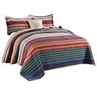 Unimall Tagesdecke Baumwolle Patchwork Bettuberwurf Landhaus Stil