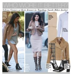 """""""Who Wore It Better?Selena Gomez or Kyie Jenner in Topshop Suede Biker Jacket"""" by kusja ❤ liked on Polyvore featuring Topshop, Tamara Mellon, WhoWoreItBetter, selenagomez, topshop, KylieJenner and wwib"""