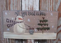 Primitive Snowman Hanging Hearts Hand Painted Sign