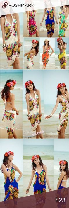 "2017 Binki Cover-up Sarong Deep V wrap chiffon swimwear bikini coverup sarong beach dress. Length 33"", Width 59"" Fits sizes 2-12 comfortably. Swim Coverups"