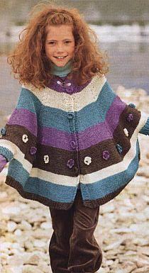 Ponczo na Stylowi.pl Crochet Girls, Love Crochet, Crochet For Kids, Crochet Woman, Crochet Baby Cardigan, Knitted Poncho, Knitting For Kids, Baby Knitting Patterns, Kids Poncho