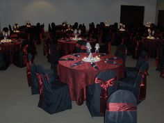 Wedding Decor- Burgundy Linen, Black Chair Covers with Burgundy Bows and Miniature Lamp Candle Centerpieces