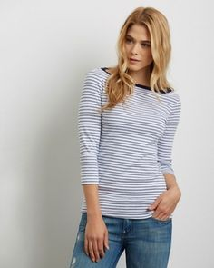 Three Dots Striped Boatneck Tee | Spring 2016 Collection