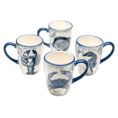 Coastal Postcards 20-ounce Assorted Mugs (Set of 4) - Overstock™ Shopping - Big Discounts on Certified International Mugs