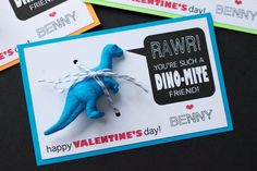 Dino-Mite Valentine b/c boys need to give gifts to their boy classmates too! My Funny Valentine, Homemade Valentines, Valentines Day Treats, Valentines For Boys, Valentine Box, Valentine Day Crafts, Holiday Crafts, Holiday Fun, Valentine Ideas