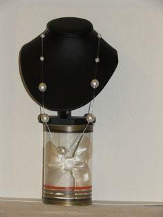 Collier en perles de verre nacré imitation perle de culture : Collier par…
