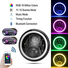 Cloudsale 7 inch led rgb round drl flashing angel eye halo ring headlamp bluetooth controlled for jeep wrangler: Amazon.in: Car & Motorbike 2016 Jeep Wrangler, Jeep Jk, Royal Enfield Accessories, Hummer H1, Bluetooth Remote, Headlight Bulbs, App Control, Angel Eyes, Led Headlights