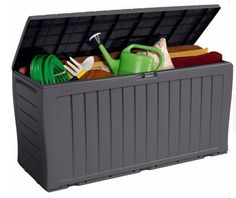 Grey Keter Wood Effect Plastic Garden Storage Box Tools Toys Outdoor Resin Patio