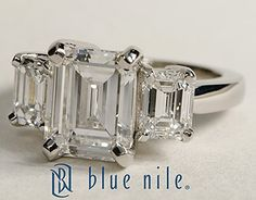 Three Stone Emerald Cut Diamond Engagement Ring in Platinum #BlueNile