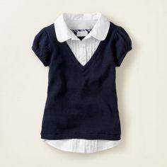 girl - school uniforms - uniform faux-layered vest   Children's Clothing   Kids Clothes   The Children's Place