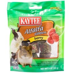 Kaytee Berry Nibblers for small pets are a tasty, nutritious treat designed specifically for your companion animal, made with the freshest alfalfa hay. Nibblers satisfy the natural craving to chew, while supplying your companion with a wholesome nutritiou