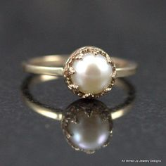 14k Gold Pearl Ring   Pearl Engagement  Ring  Sizes 3  by PPennee, $285.00