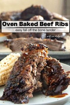 Oven Baked Beef Ribs recipe is so easy. Dry rubbed with delicious seasoning, low temp bake yield fall off the bone tender, juicy meaty ribs that will be the hit of any BBQ party all in less than 15 minutes of work! Grilled Steak Recipes, Grilling Recipes, Bbq Meals, Dinners, Pork Rib Recipes, Cacciatore, Tempeh, Oven Baked Beef Ribs, Bbq Beef Ribs Recipe Oven