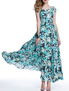 Shop Maxi Dresses - Beach Short Sleeve Floral-print Maxi Dress online. Discover unique designers fashion at StyleWe.com.