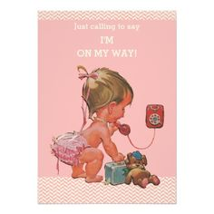 Vintage Baby on Phone Pink Chevrons Baby Shower 5x7 Paper Invitation Card