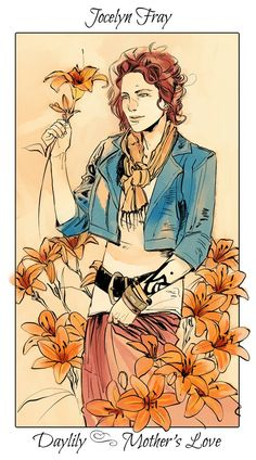 Jocelyn with day lilies, The language of flowers (picked by C.Clare, art by C.Jean)