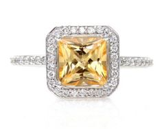 14K Golden Honey Topaz Diamond Ring Gemstone Engagement Ring Custom Princess Halo Setting White Yellow Rose Gold www.finditforweddings.com